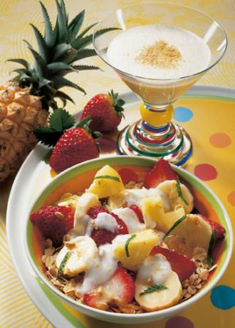 Weizenkeim-Müsli mit Bananenmilch (Vegetarier geeignet) - Foto; Wirths PR